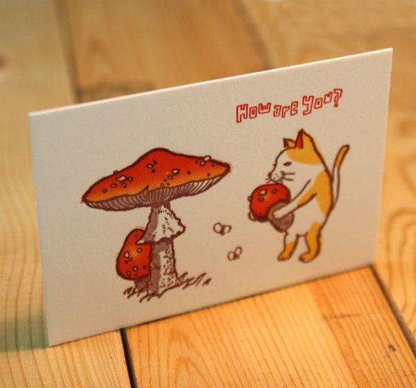 活版グリーティングカード キノコと猫