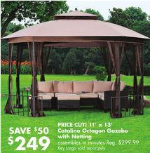 11' x 13' Catalina Octagon Gazebo with Netting from Big Lots $249.00 (17% Off) -