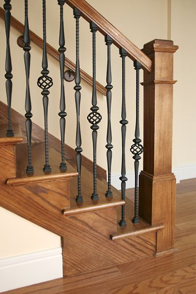 Stairway #15 features LIH-HOL15044 and LIH-HOL16044 Iron  Balusters with LI-ALH06 and LI-ALH05P Iron Baluster Collars, LJ-4091 Box Newel, LJ-6010 Handrail.