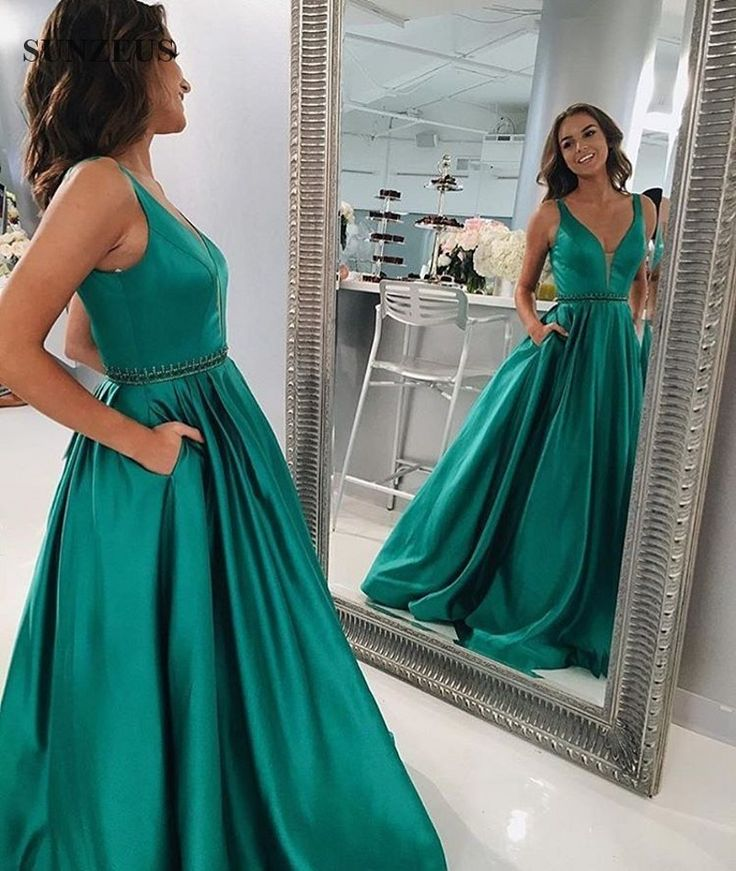 Fashionable Deep V Prom Dress,Green Prom Dresses, Prom Dress with Pockets, Elegant Long Prom Dress,Sleeveless prom Dress