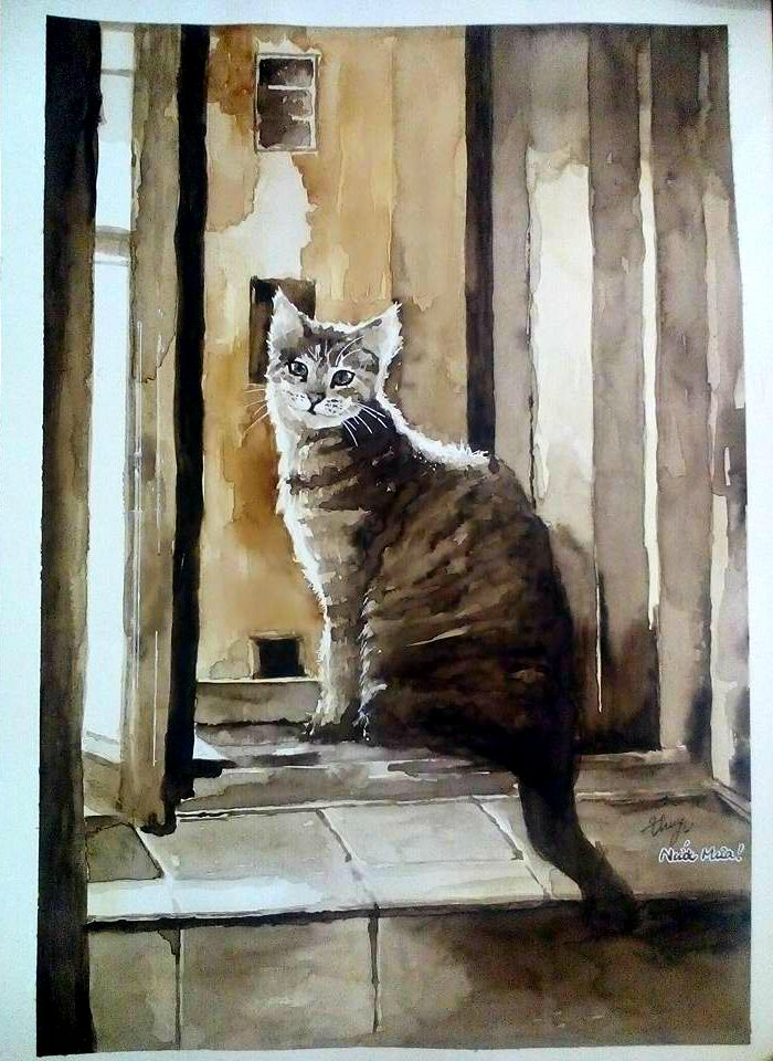 #watercolor #cat