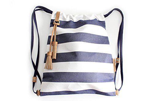 Vale BACKPACK, mochila tejido y cuero, de tejido technico IMPERMEABLE color rayas azul. Personalizada con tus iniciales.