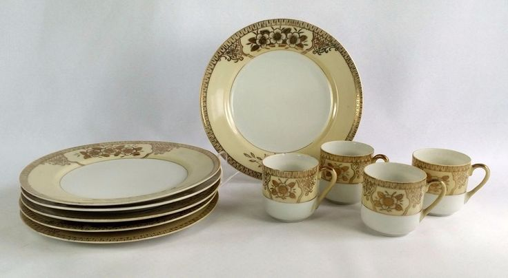 23 best tea for two images on pinterest cups mugs and china china chikaramachi early noritake 6 dessert plates 4 demitasse cups vintage made in japan yellow rim gold trim fandeluxe Image collections