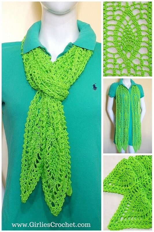chesca scarf, free crochet pattern, lacy scarf, green scarf, pineapple design