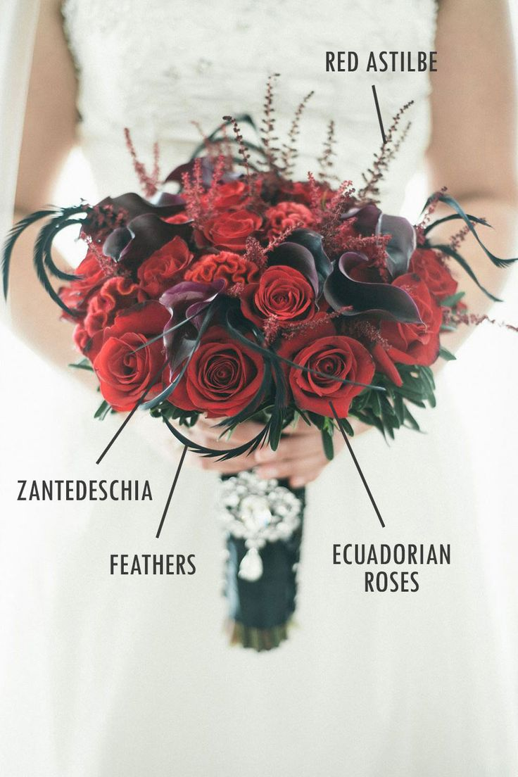 Bold wedding flowers with red ecuadorian roses and black feathers // Floral Bouquet Recipes by Theme - Part 2
