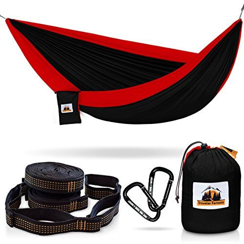 Huge Sale Ending Soon! All-in-One Camping Hammock, Portable and Lightweight – Includes Double Parachute Hammock + 2 Heavy Duty 10' Straps + Super Strong Carabiners by Traveler Fantasy (Black and Red). For product & price info go to:  https://all4hiking.com/products/huge-sale-ending-soon-all-in-one-camping-hammock-portable-and-lightweight-includes-double-parachute-hammock-2-heavy-duty-10-straps-super-strong-carabiners-by-traveler-fantasy-black/