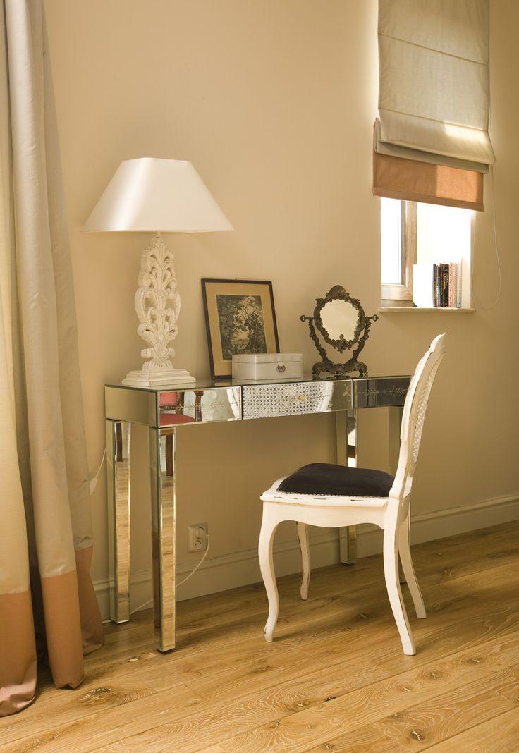 mirror-made makeup table in the bedroom, pastel interior, pastel bedroom