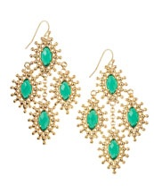 Y1AJX Kendra Scott Febe Chandelier Earrings, Green Onyx