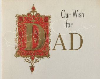 Our Wish for Dad - Unused Vintage 1950s Hallmark  Christmas Card