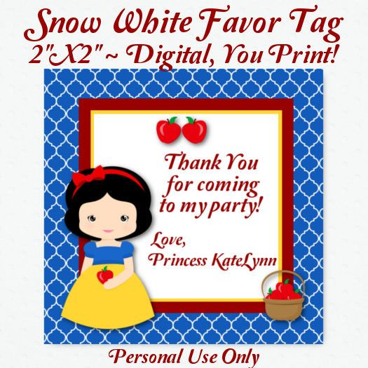 Printable Snow White Favor Tags ~ Digital Favor Tags ~ Disney Princess Inspired Birthday Party, Snow White Birthday Party Supplies, DIY Tags...