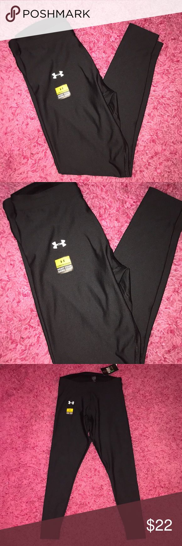 Under Armour Compression Leggings Men's under Armour compression black leggings. Are definitely unisex and could also be a women's L/XL. Brand new with tags Under Armour Pants