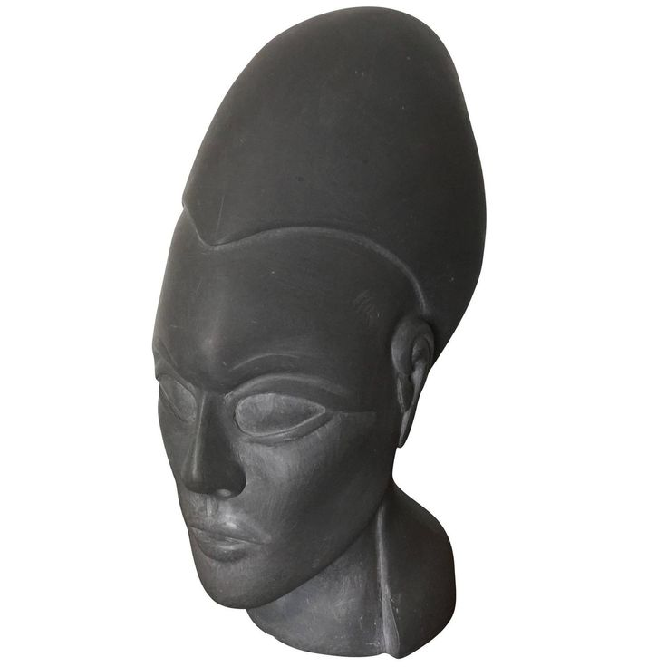 Carved Stone Head in Egyptian Style