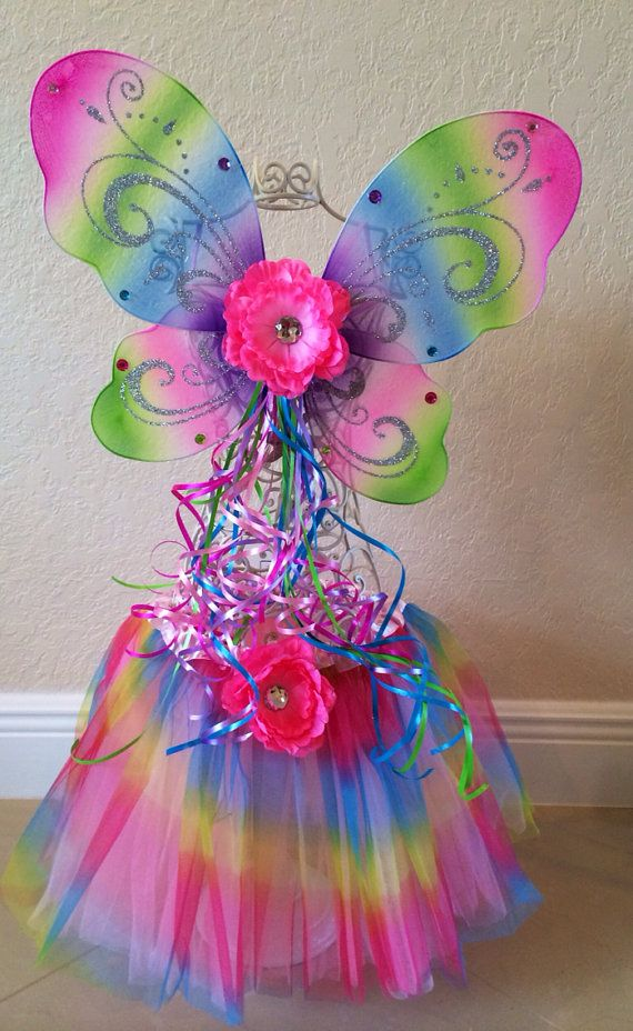 Rainbow Fairy Wings Fairy Costume Tinkerbell by partiesandfun