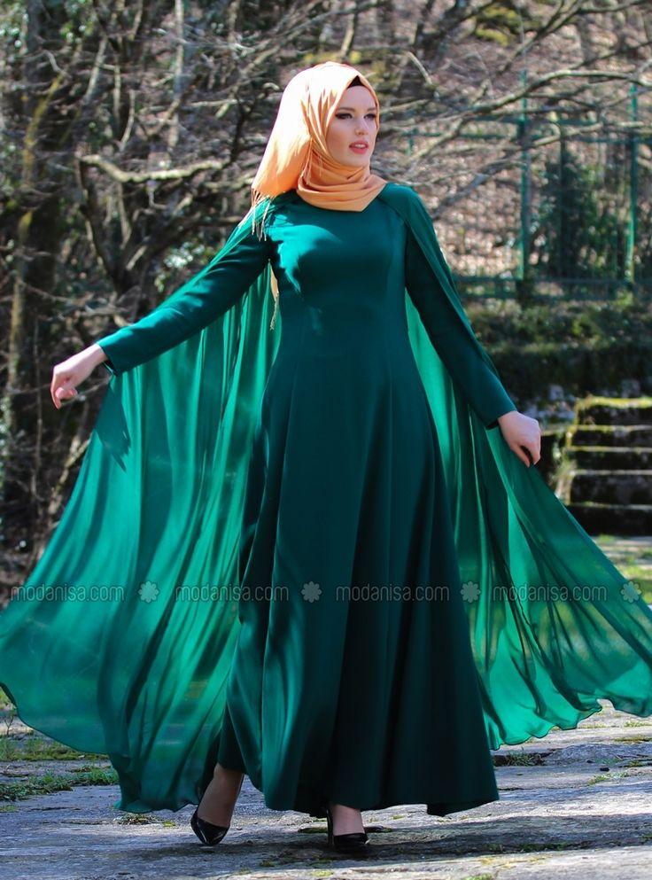 Chiffon Evening Caped - Green - Mustafa Dikmen Modanisa