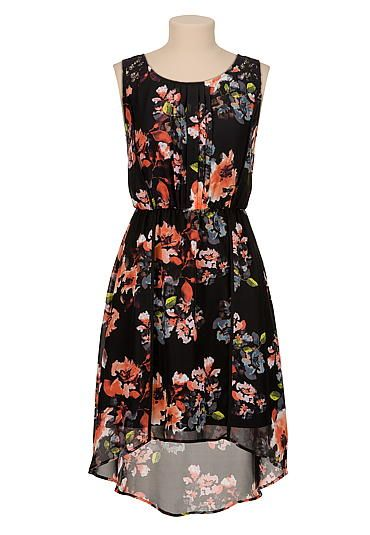 high-low floral print dress with lace (original price, $44) available at #Maurices