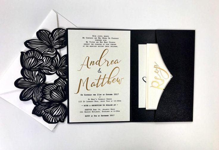 Black and Gold Wedding Invitation ETSY Slay&Maker Design (@slayandmaker) #lasercutinvitations #weddingseason #autumnwedding #autumnweddings