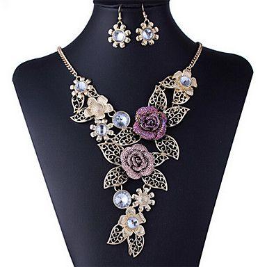 Ensembles Forme européenne de fleur de cavité Diamanted alliage d'or (Colliers et boucles d'oreilles &) Bijoux de pierre gemme – EUR € 13.43