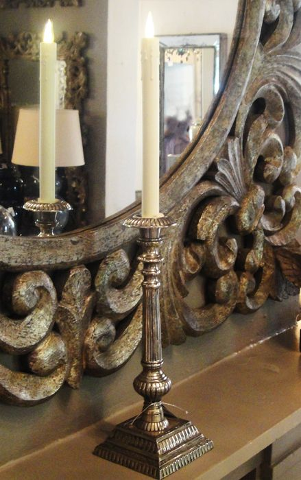 Indian silver (mixed metal) candle stick with a Smart Candle From Farriers Decor Cape Town