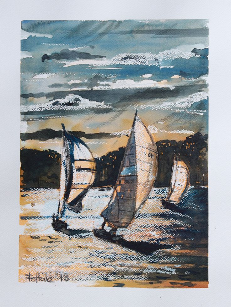 Last voyage in Augustow, watercolor + oil pastel, 38x28 cm, 2013