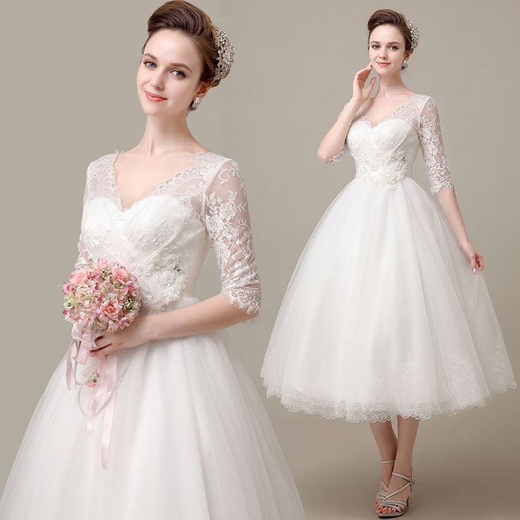 Find More Information about Lace Wedding Dress With Sleeves Tea Length Bride Wedding Dress White Slit Neckline Gauze Puff Dress EMS Fast Delivery,High Quality ,China Suppliers, Cheap from Princess Sally International Co.,Ltd. on Aliexpress.com