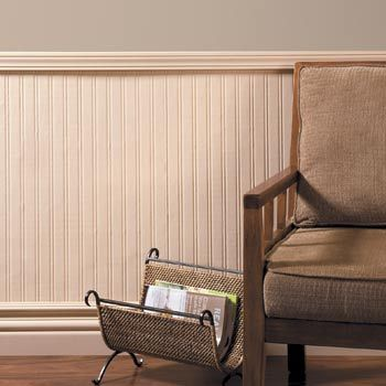 This is actually wallpaper made to look like beadboard.  Brilliant idea!  Even I could do this!