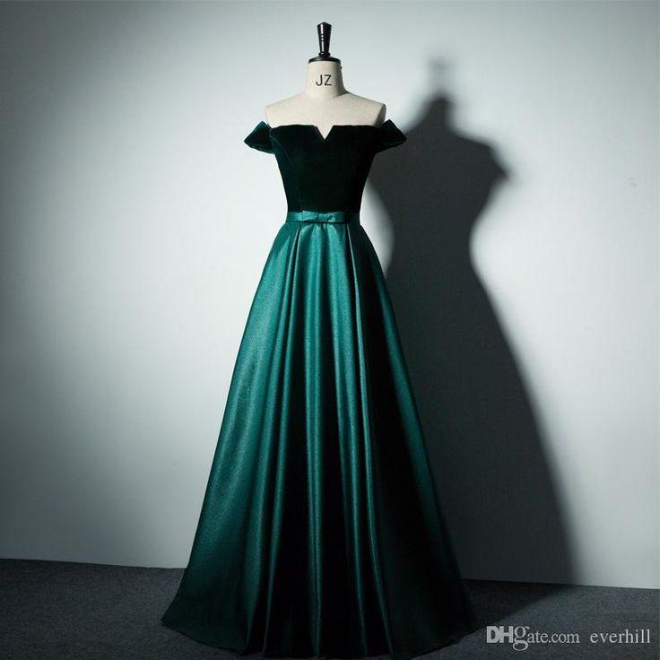 Sexy Off Shoulder Long Evening Gowns Dark Green Dresses For Prom 2018 Dubai A-Line Velvet Top Satin Floor Length Women Evening Dresses New