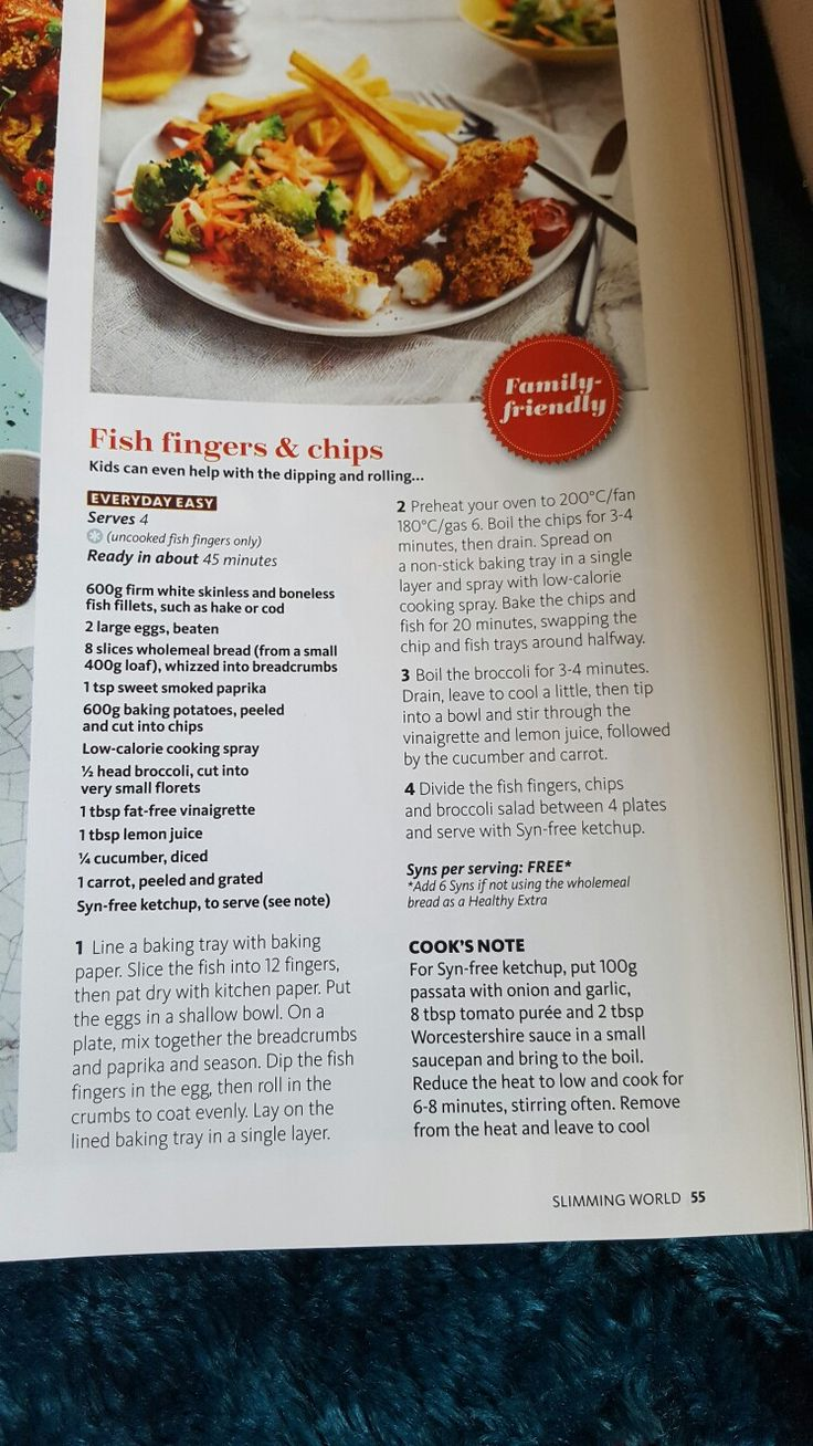 slimming world fish fingers and chips