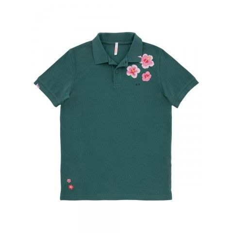 Green polo with embrodery ibiscus  SUN68 Man SS15 SS15 #SUN68 #SS15 #man #polo