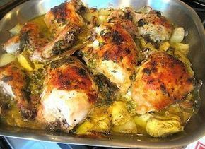 """Baked Artichoke Chicken- won best recipe """"The Chew"""" and for good reason. This was 10*, fast, easy and delicious! I ended up not having red wine vinegar, so I used the white wine and olive oil. I also did not use tarragon, as I don't like it, but rather fresh thyme sprinkled on the dish. I also used Chicken tenders (all I had at the time) and it was great and took less than 30 minutes to cook. I am sure bone in breasts would offer additional flavor - but no matter - you cannot beat this…"""