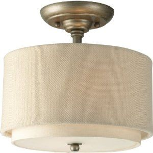 double drum shade ceiling mountSemiflush, Flush Mount, Trav'Lin Lights, Drums Shades, Living Room, Linens Fabrics, Progress Lights, Ashbury Semi, Semi Flush