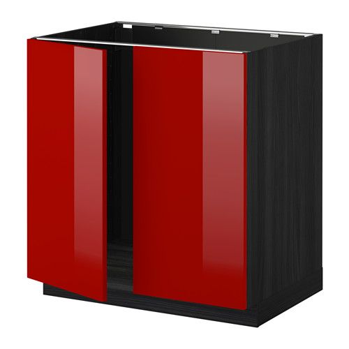 METOD Base cabinet for sink + 2 doors - wood effect black, Ringhult high-gloss red - IKEA