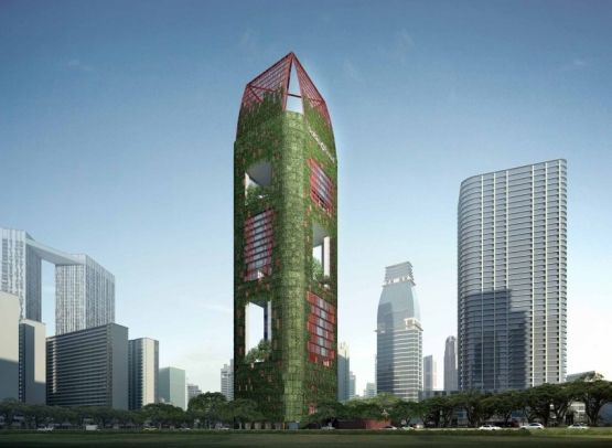 Oasia Downtown by WOHA:  sets out to create an alternative imagery for commercial high-rise developments. It combines innovative ways to intensify land use with a tropical approach that showcases a perforated, permeable, furry, verdant tower of green in the heart ofSingapore's Central Business District (CBD).