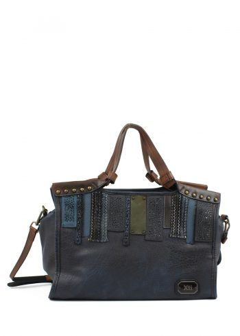 XTI navy patchwork tote Bag