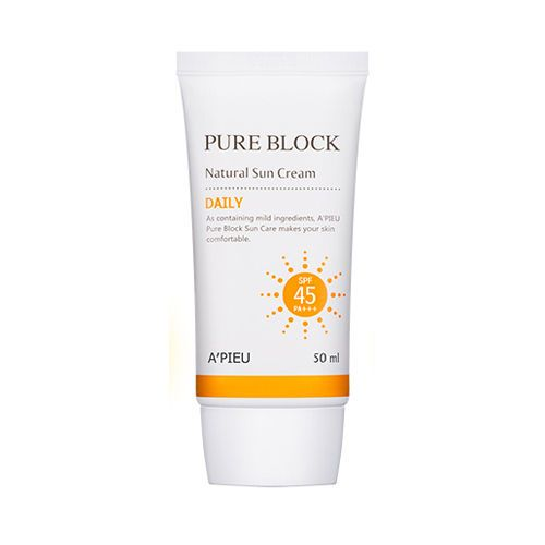 [A'PIEU]. - Contents : 50ml. Pure Block Natural Daily Sun Cream. Lotion-soft texture. No sticky shine. - Condition : New. neck, arms and legs whenever care needed. Apply a moderate amount to the face. | eBay!