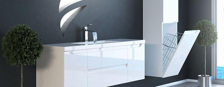 Wygodne przechowywanie w łazience jest proste! Meble zapewnią miejsce do ukrycia nieestetycznych detergentów i środków higienicznych. Praktyczny kosz na pranie schowany w słupku pozwoli na zaoszczędzenie miejsca.
