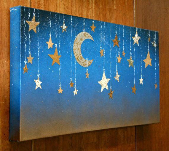 Starry Night with Hanging Moon and Stars, nice Ramadan decoration.