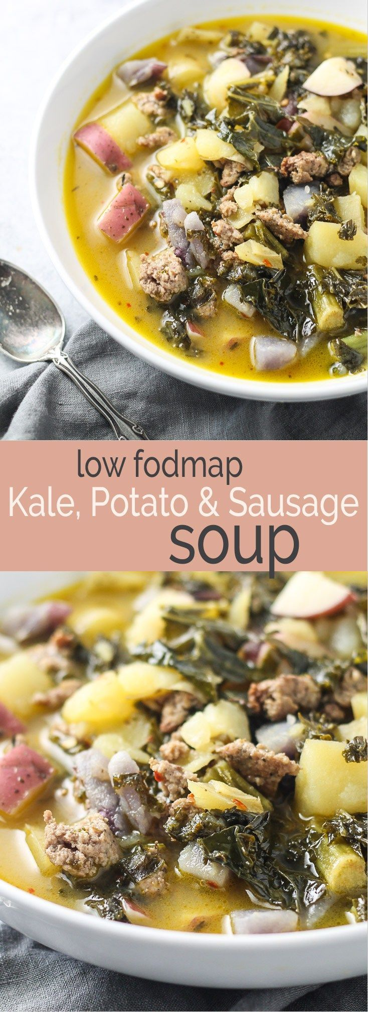 This Low Fodmap Kale, Potato & Sausage Soup recipe is sure to warm you up this winter! it's gluten free, dairy free and oh-so-comforting!