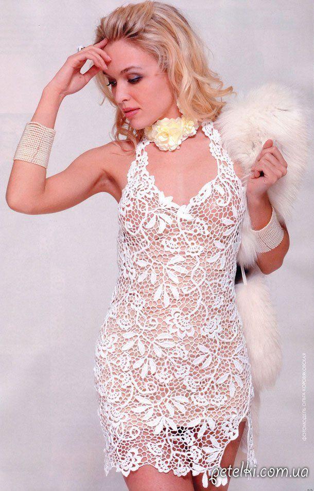 Белое платье крючком в технике сцепного гипюра. Описание, схема