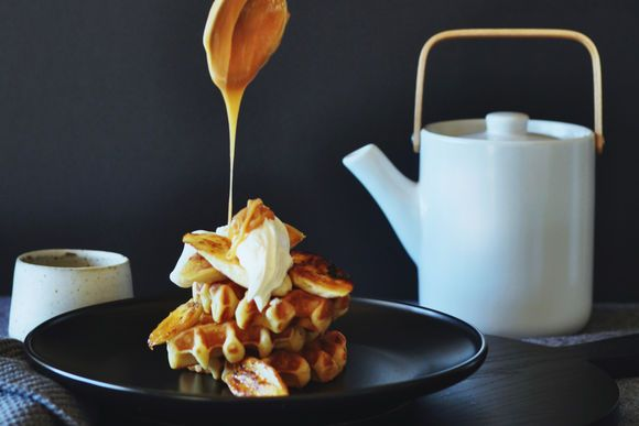 Nut Brown Butter Waffles with Salted Brandy Caramel, Banana and Crème Fraiche - Maggie Beer