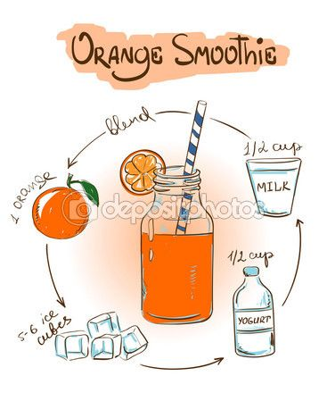 Sketch Orange smoothie recipe. — Cтоковый вектор