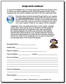 Free Google Earth Landforms Project - Students research a landform, find a real example using Google Earth, and present a short demonstration to the class
