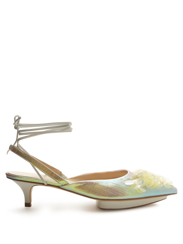Click here to buy Delpozo Point-toe sequin-embellished slingback pumps at MATCHESFASHION.COM