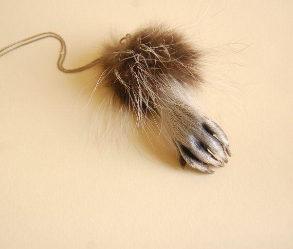 Taxidermy Raccoon Paw Charm on Etsy, $45.00