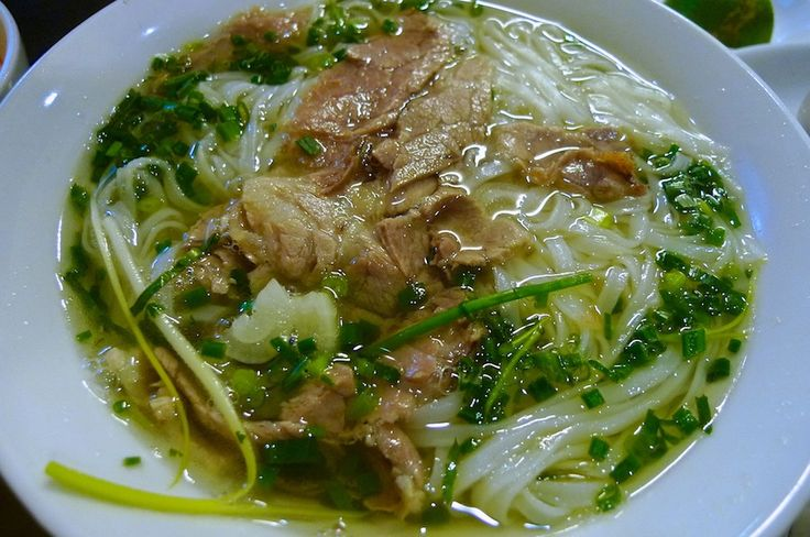 Delicious pho bo (rice noodles soup with beef) in Hanoi, Vietnam