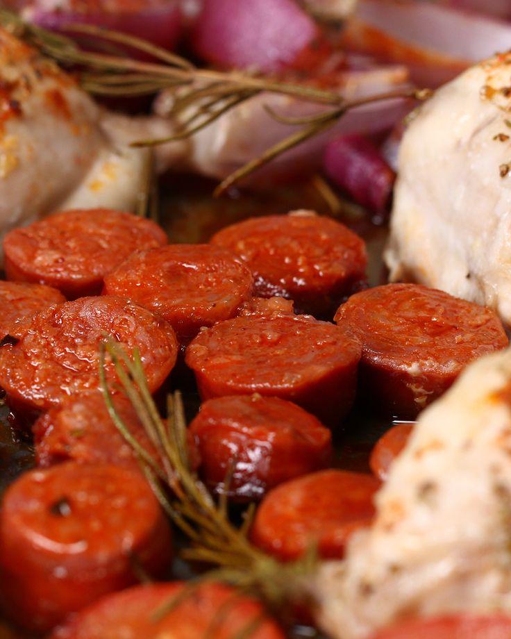 Spanish Chicken And Chorizo Tray Bake