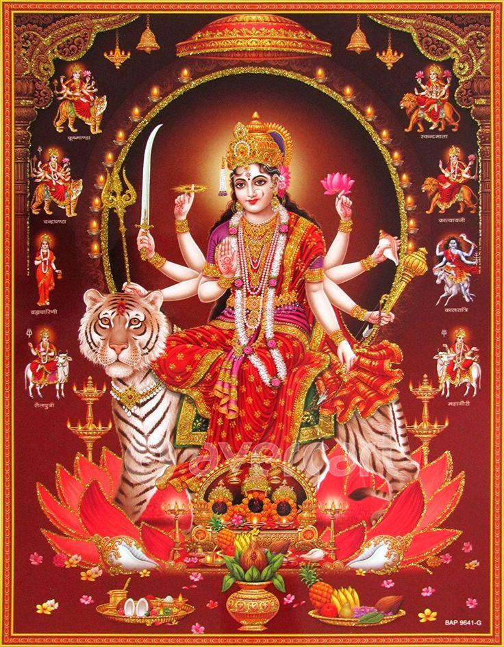 Goddess Amba with Nine forms of Durga