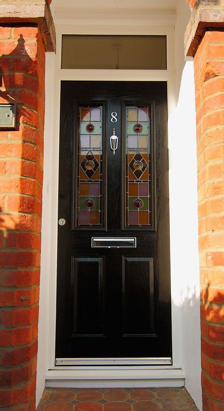Black Composite Door with Bespoke Glass