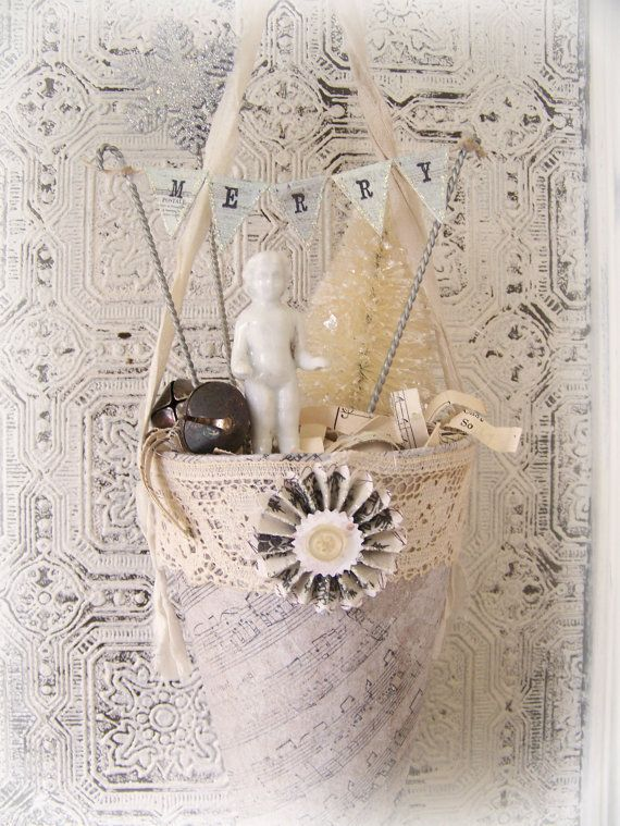 Large Handmade White Christmas Altered Cone Vintage Tussie Mussie Victorian Paper Cone