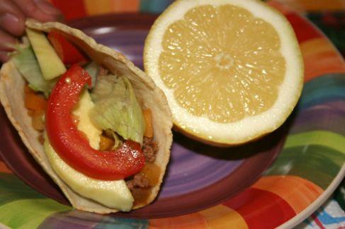 tacos di carne e pancetta