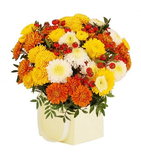 This arrangement contains the following flowers: 3 x Yellow Chrysanthemum 3 x White Chrysanthemum 3 x Orange Chrysanthemum 3 x Rosehips 1 x Cream Giftbag Pistache Greenery Hand-tied by our florists.
